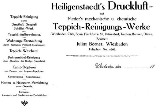 originaldokument, teppich-reinigungs-werke